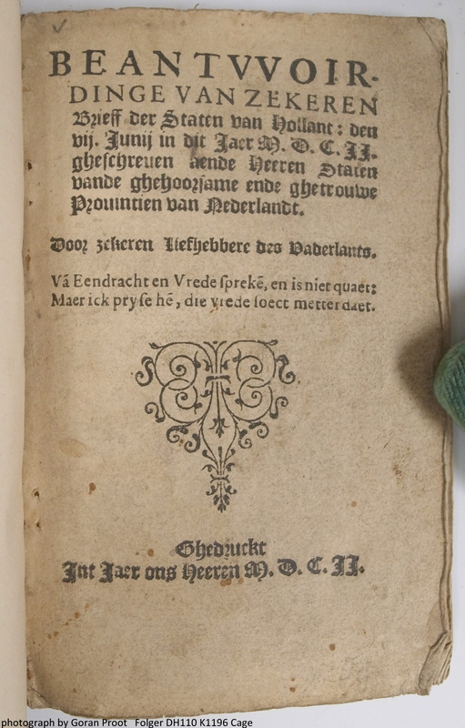 Title page (fol. A1r) of an anonymous 1602 pamphlet