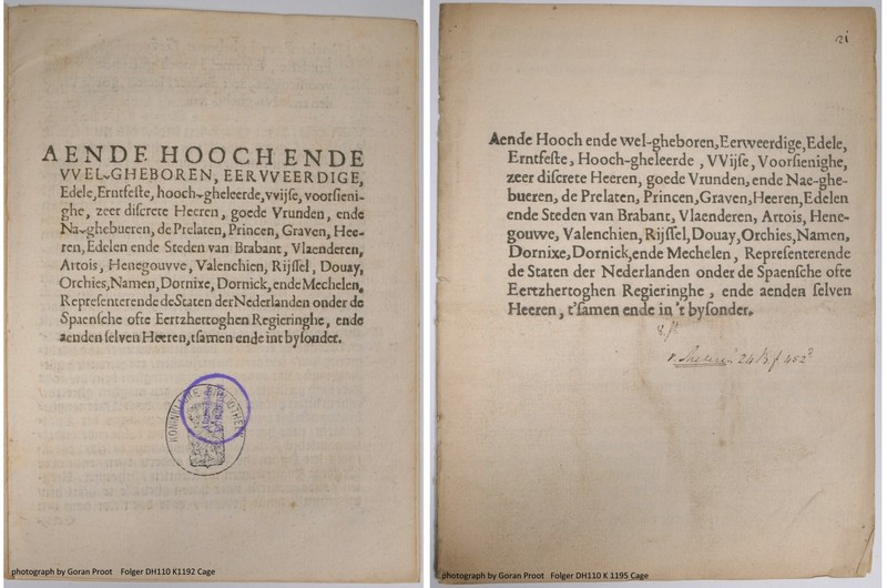 Title page of Knuttel 1192, also recorded in the Short Title Catalogue Netherlands as no. 86022502X