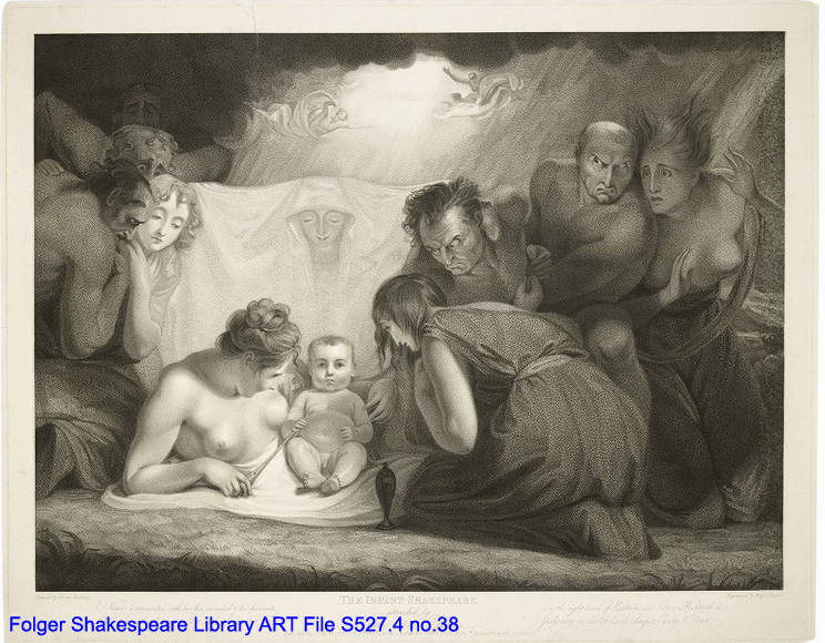 Engraving of allegorical figures surrounding a baby.