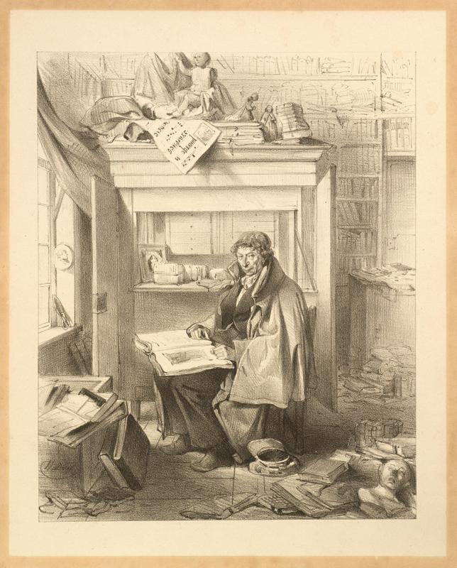 "Lithograph by Jean Baptiste Madou entitled ""Portrait of the bibliophile an bookseller Bernard de Bruyne (1773-1839) in his library."" (City Archive Mechelen, Port.021)"