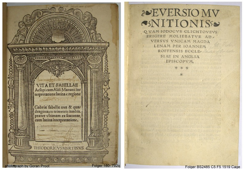 title pages of the 1517 and a 1519 edition
