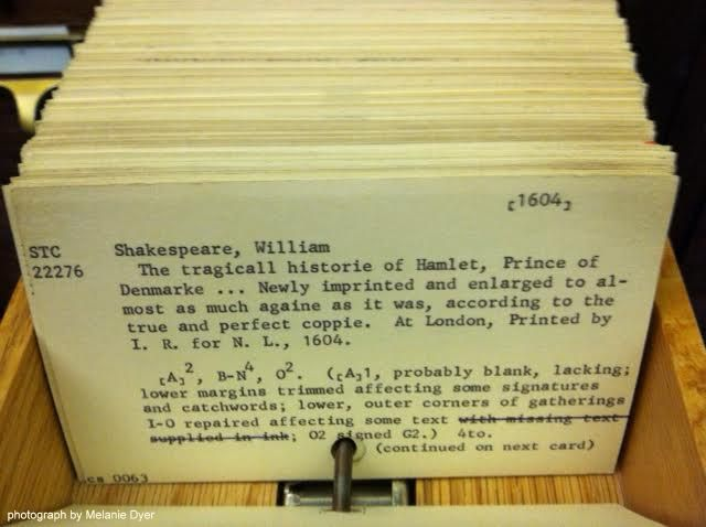 A card cataloging the 1604 Hamlet