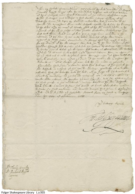 Letter from Sir Francis Walsingham to Thomas Gresley and Richard Bagot, February 22, 1588/89.