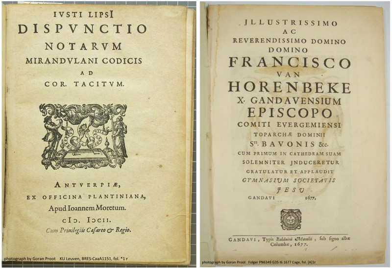 "A Latin title page from 1602 (left) and one from 75 years later (right): The former has ""V"" representing ""U"" while the latter does not."