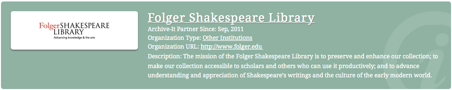 The Folger Shakespeare Library web collecting mission.
