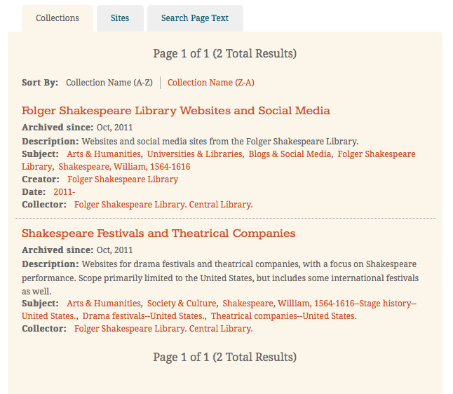 Current Folger Shakespeare Library web collections as accessed via Archive-It.