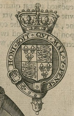 Detail from Folger ART File E43 no.33 (size M), Elizabetha Angliae Regina [Coat of arms with motto] Honi Soit Qvi Mal Y Pense [graphic].