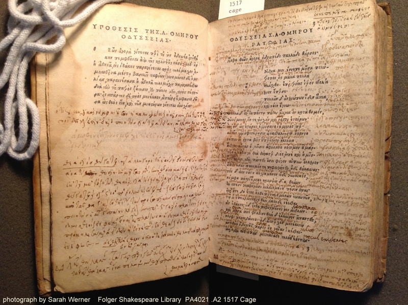 a heavily annotated opening from the Folger's 1517 Aldine Homer