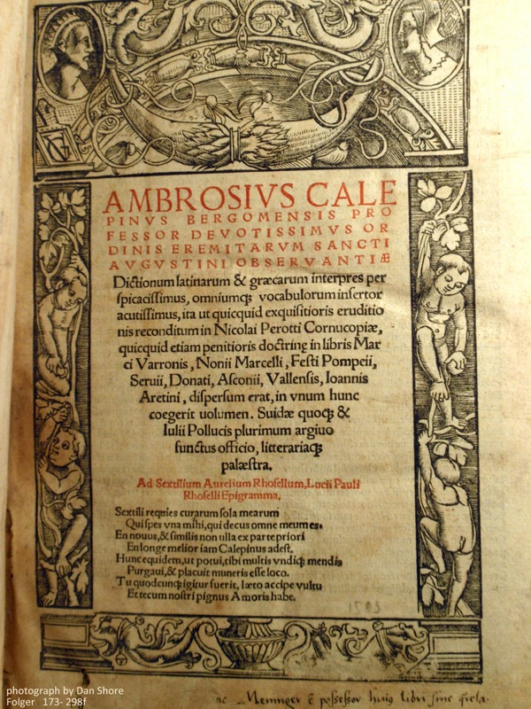 The Dictionarium of Ambrosius Calepino