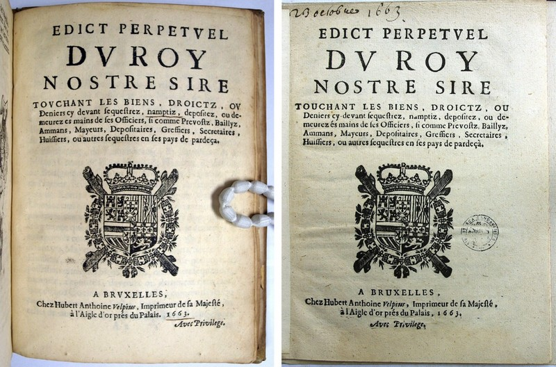 Title pages of two editions of the Edict perpetvel (1663). Folger 222256.22 (fol. A1r); Ghent University Library Meul.003973 (fol. A1r).