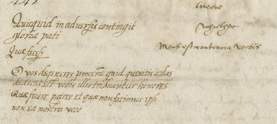 Letter from same to same, detail from fol. 1v.
