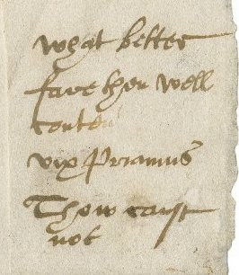 Detail from letter from Francis to Edmund, obtained by Bagot. Folger MS L.a.581, fol. 2v detail.