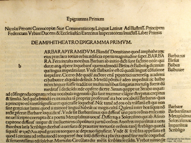The incipit of the Folger's 1494 Cornucopiae