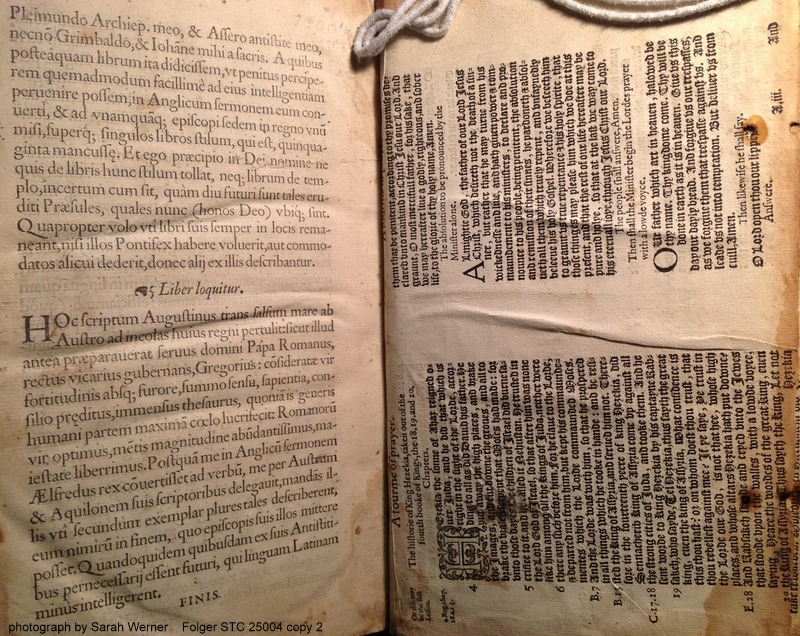 The last page of Asser's Aelfredi regis res gestae and the recto of the back endleaves of printer's waste from the 1580 Accession Day liturgy.