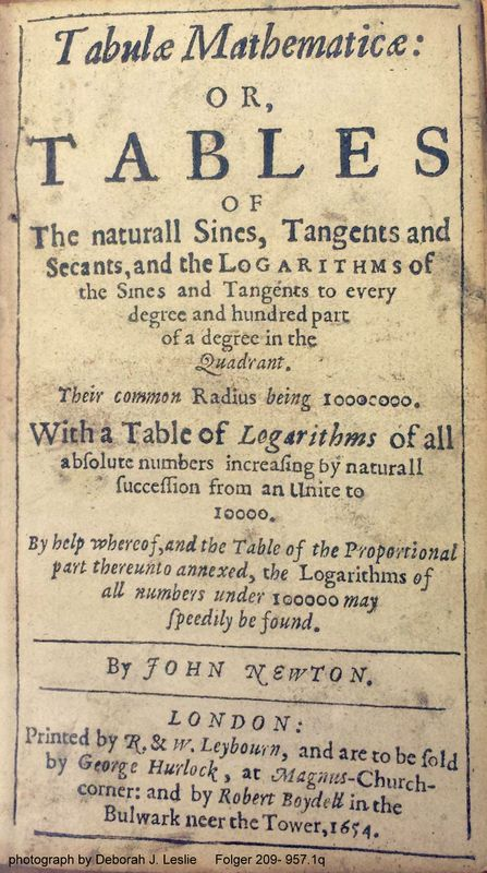 title page of John Newton's Tabulae mathematicae