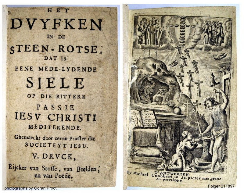 Typographical and engraved title pages of Het duyfken in de steen-rotse, Antwerpen: Michiel Cnobbaert (1665) (Folger 211897, fols. a1r and a2r; STCV 3170030