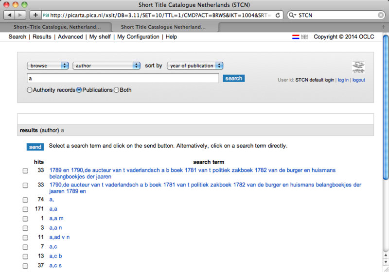 "Screen shot from the STCN showing the author index entered with the term ""a"""