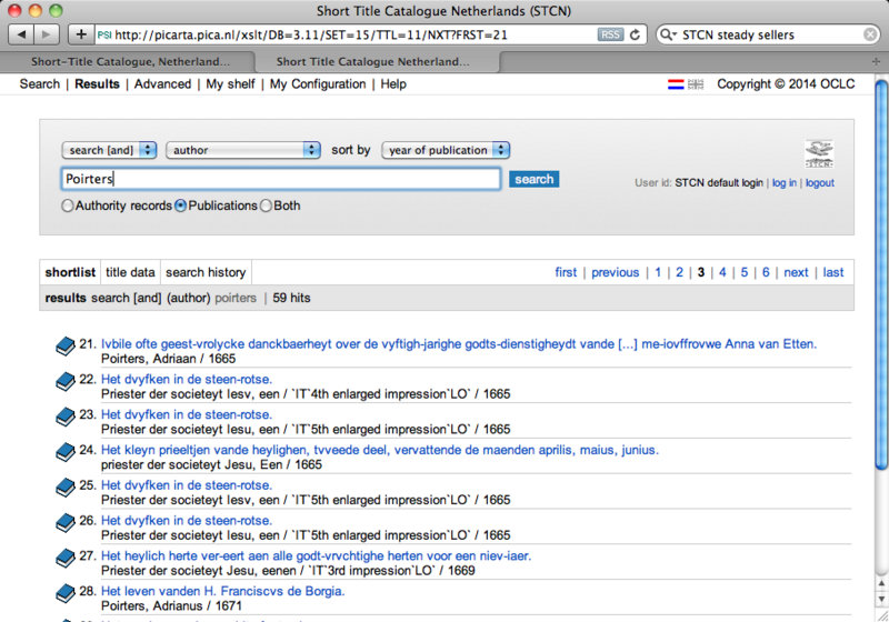 Screen shot from the STCN showing publications by Adriaen Poirters SJ (1605-1674)