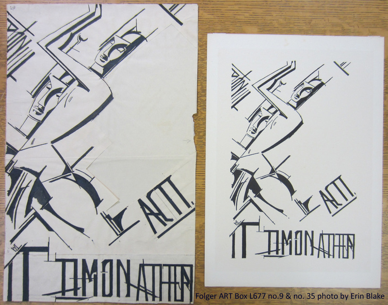Drawing from 1912 (left) and print from 1913 (right) by Wyndham Lewis for Act I, Timon of Athens.