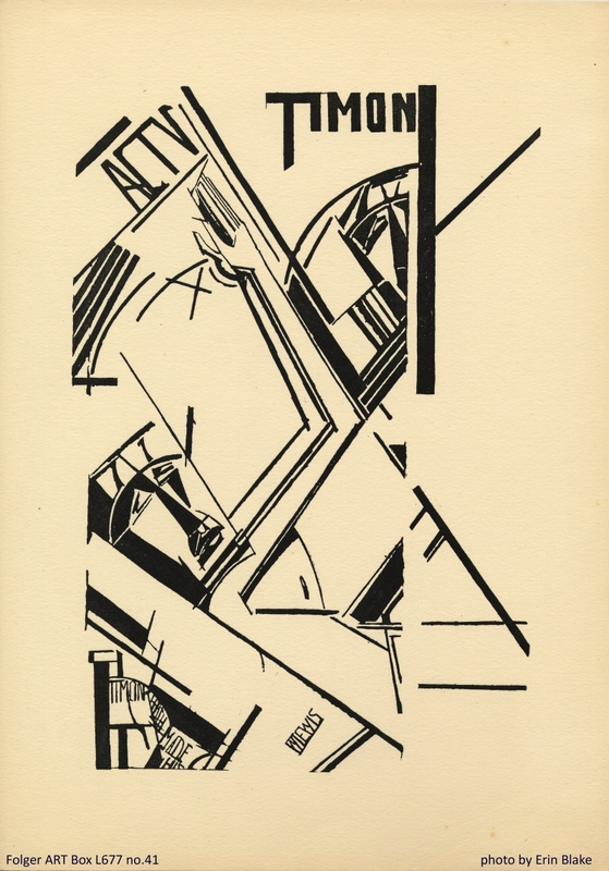Wyndham Lewis, Act V from the 1913 Timon of Athens portfolio. Folger ART Box L677 no.41.