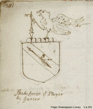 a sketch of Shakespeare's coat of arms by Peter Le Neve, ca. 1700
