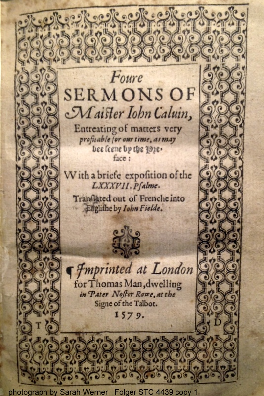 title page of Foure Sermons of Maister John Calvin