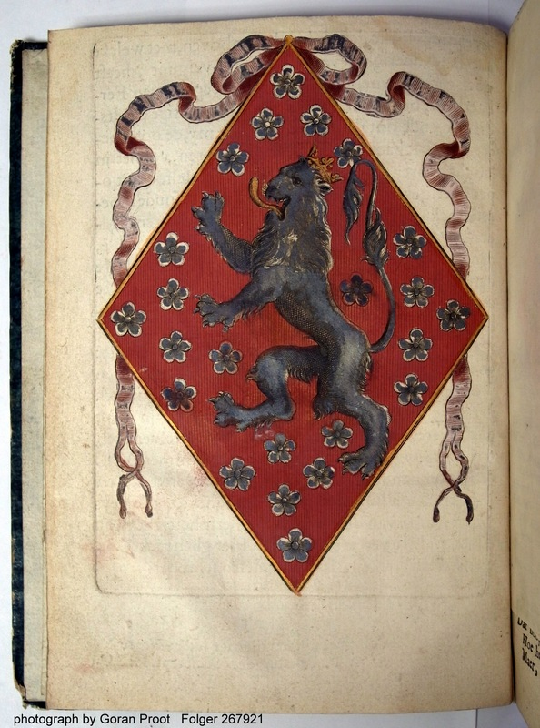 The hand-colored coat of arms in the Folger copy.