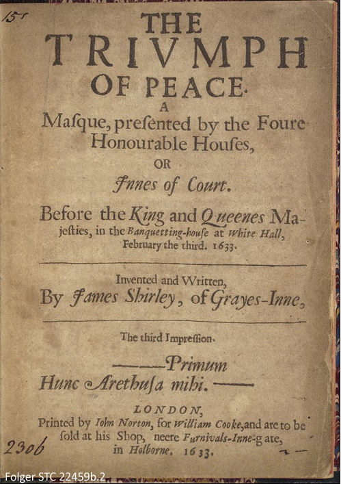 Title page of The Triumph of Peace (the year is given according to Lady Day dating, where 25 March marked the beginning of a new year)