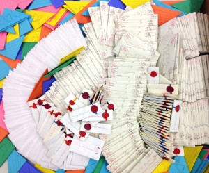 "Last month MIT Library staff members had a ""letterlocking bee"" to make these 400 give-away models for their participation in the Cambridge Science Festival and Preservation Week."