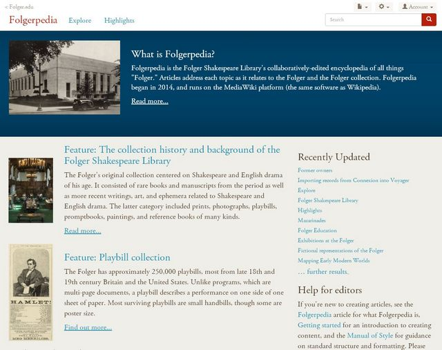 screenshot of Folgerpedia landing page