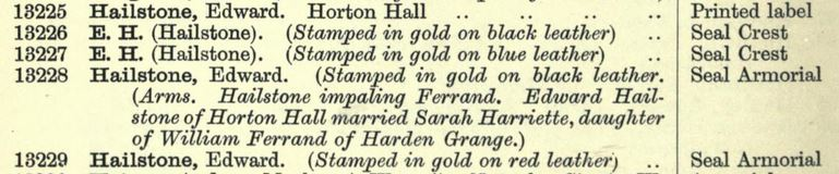 screenshot of Hailstone's entries from Franks Bequest