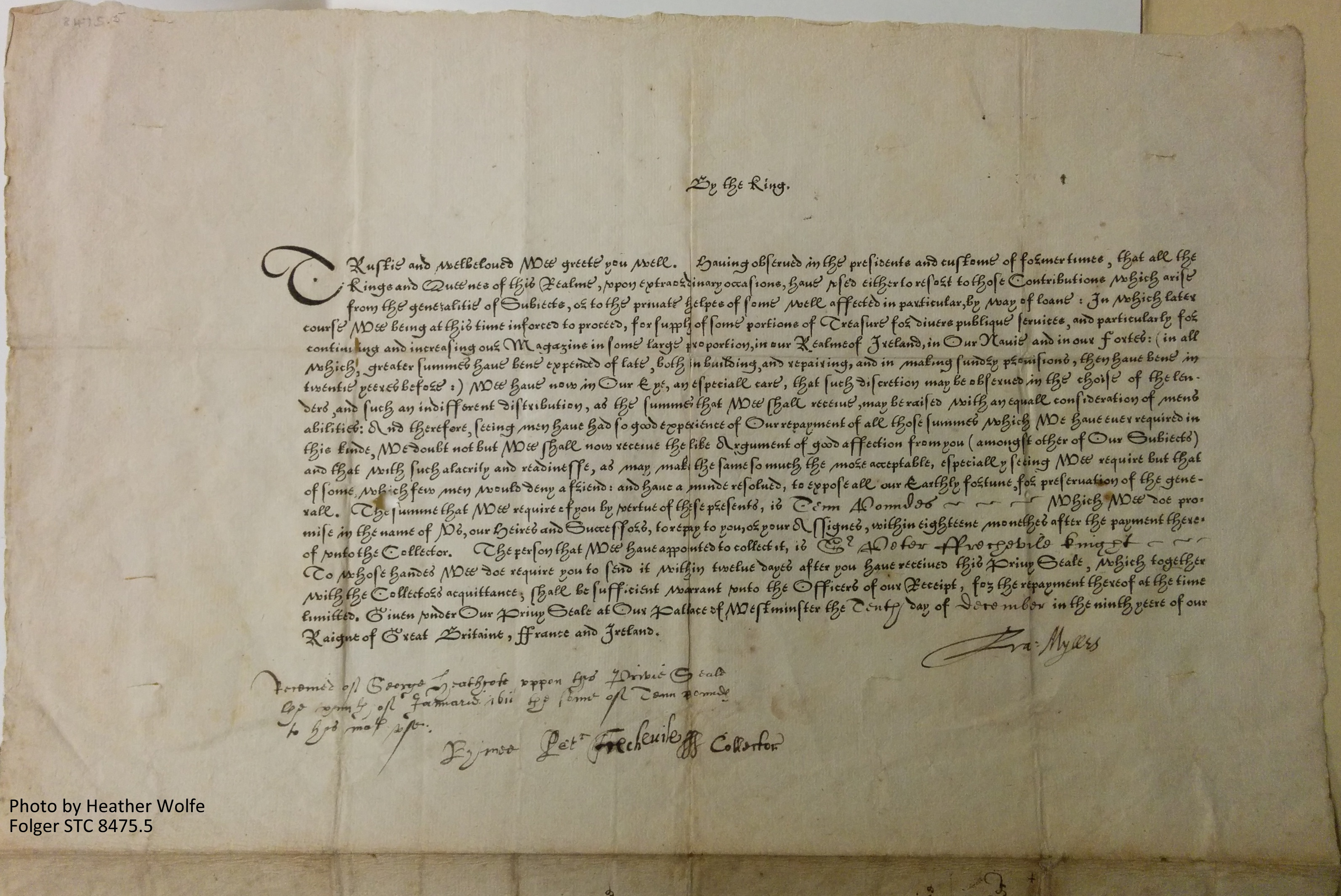 James I's appeal for funding military provisions for the Navy and forts in Ireland. Folger STC 8475.5. Note that this is the call number. The STC (2nd ed.) number is 9175i.9 (state 4). Click this and all other images to enlarge.