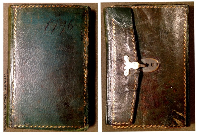 The front cover (left) and back (right) of the pocket diary