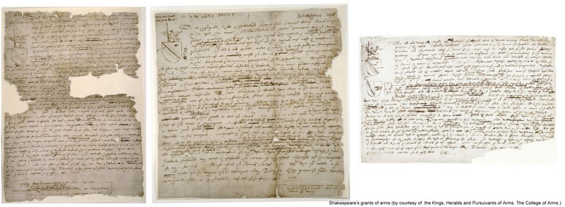 the three drafts of the grants of arms to Shakespeare's father