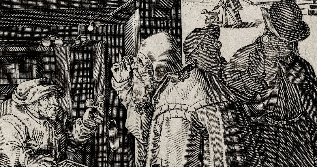Engraving of people peering through eyeglasses.