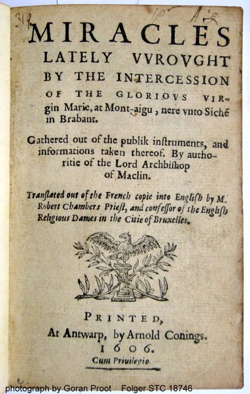 VV used for W on a 1606 title page. Copy Folger STC 18746