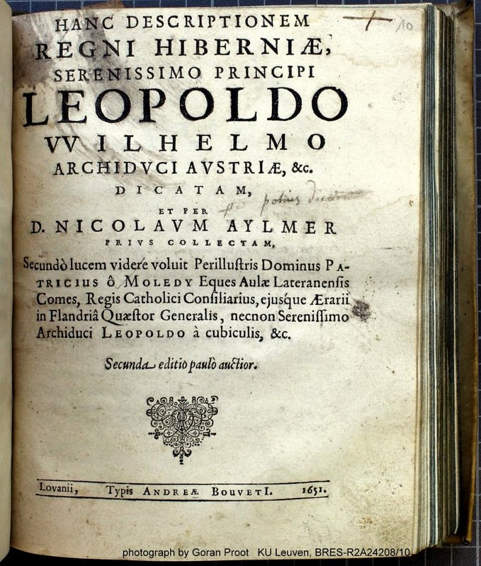"A Latin title from 1651 with a proper name using ""VV"" for ""W"" (STCV 12915116)"