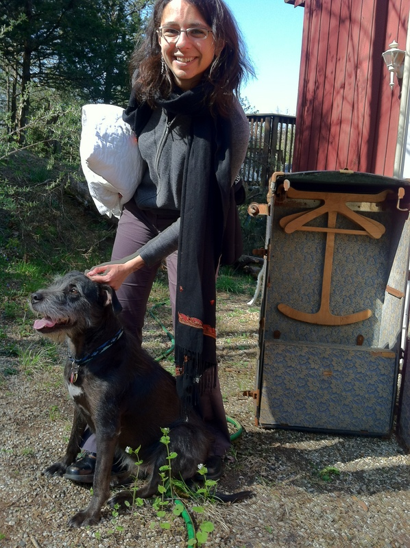 Nadia with Viola, Lynn Redgrave's dog, while packing up her archives in 2010