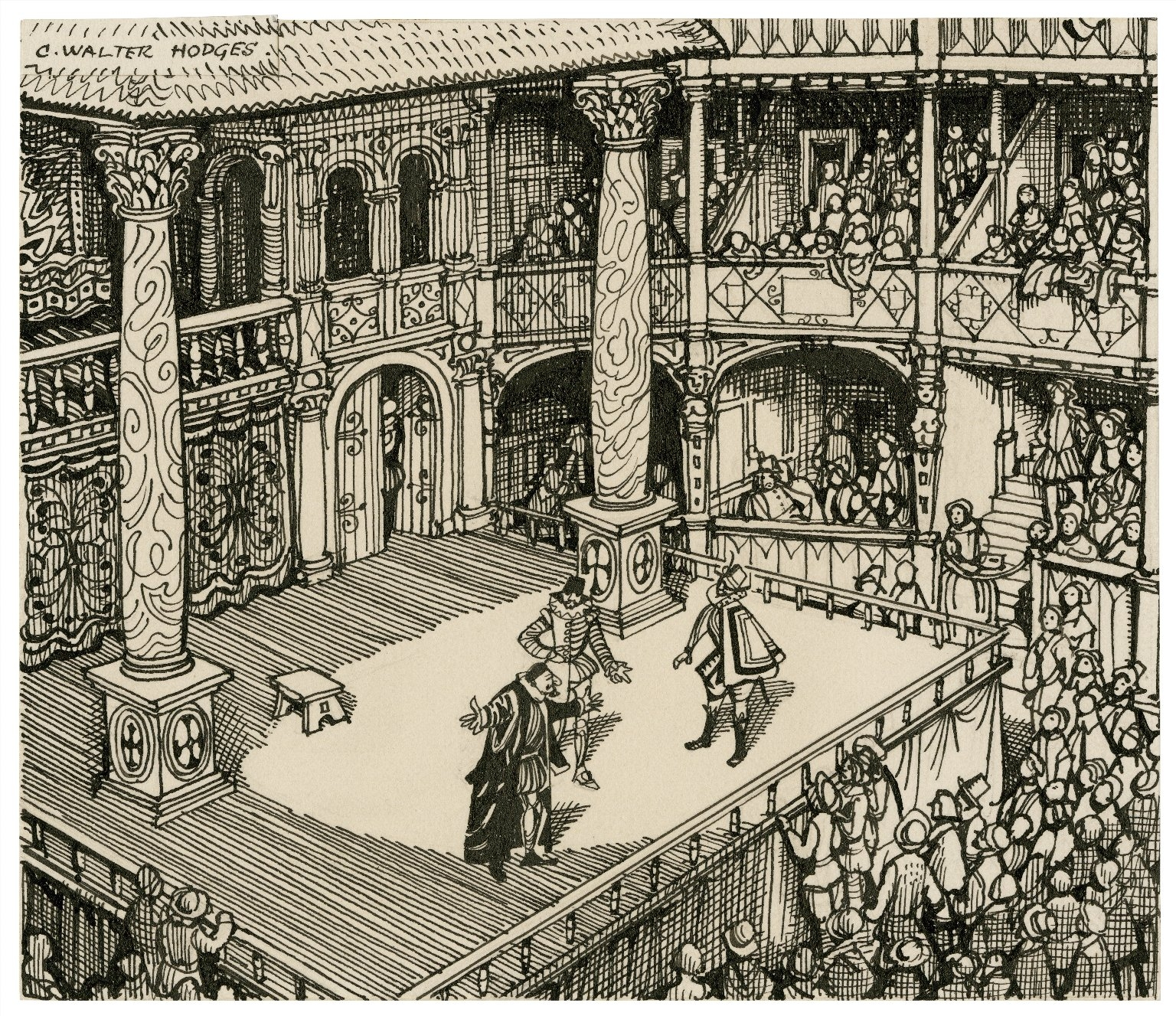 Pen-and-ink drawing of characters on a stage