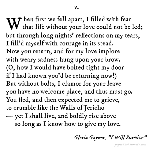 Pop Sonnets' adaptation of Gloria Gaynor
