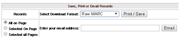 Save as Raw MARC dialog