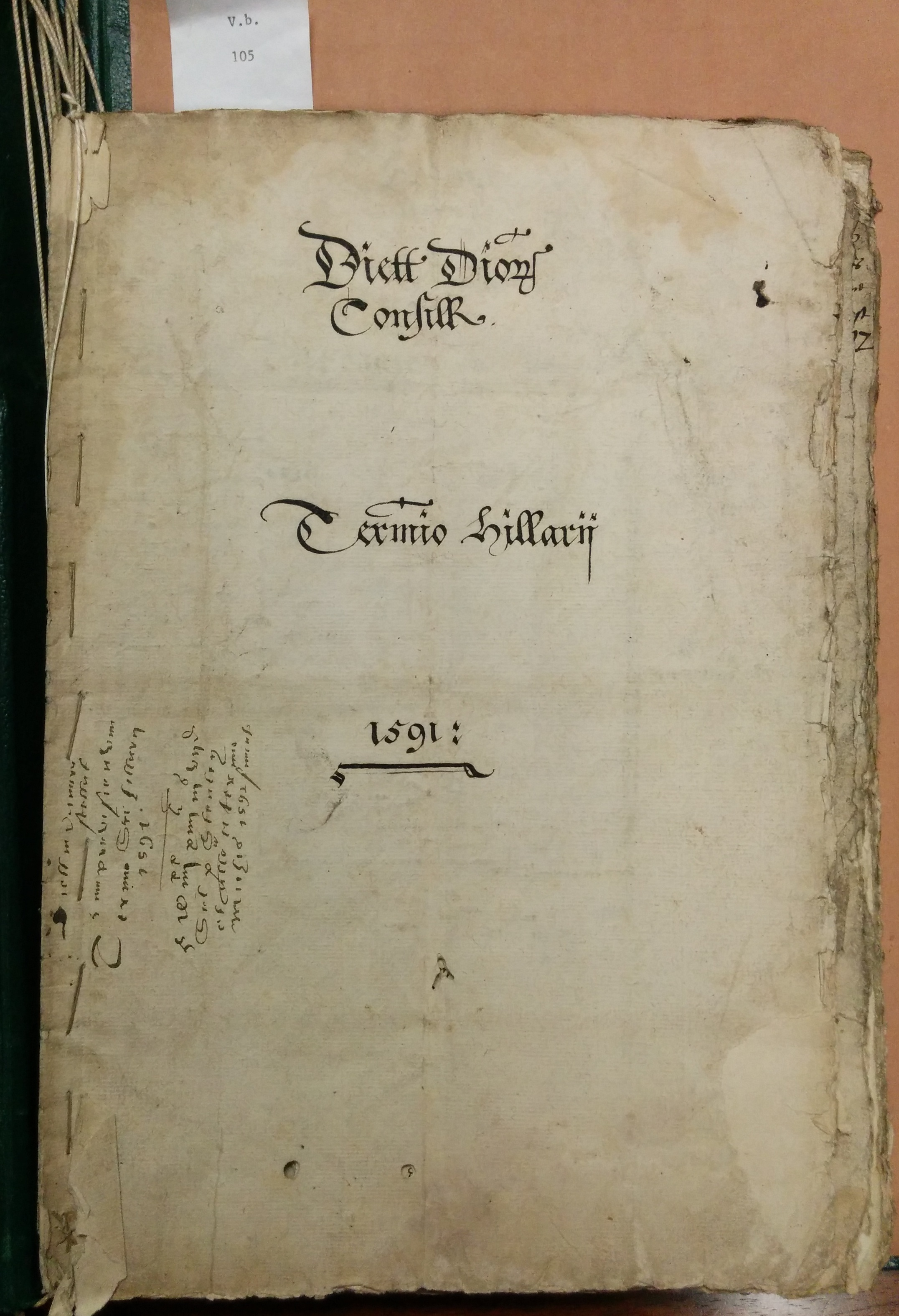 Paper cover for the itemized Star Chamber dinners for Hillary Term 1591/92, Folger MS V.b.105