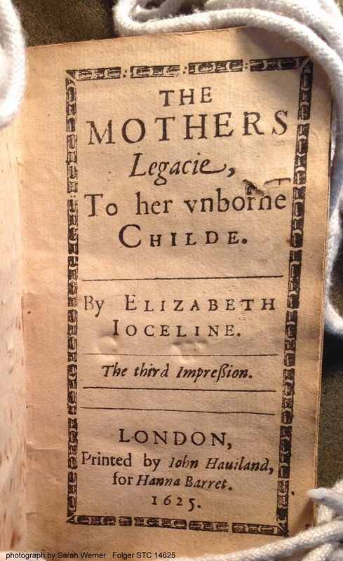 title page of Jocelin's The Mother's Legacie