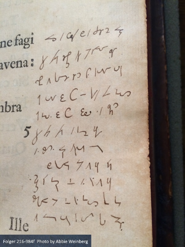 Eclogue 1, lines 1-8, in Weston shorthand