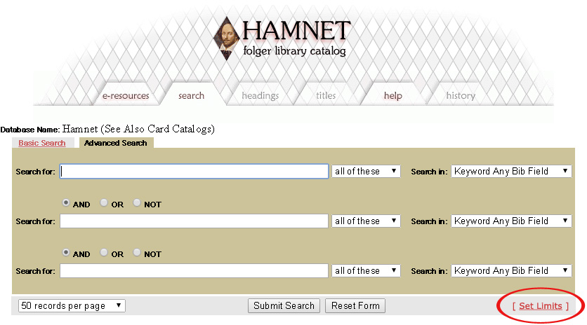 "Hamnet display with ""set limits"" link circled"