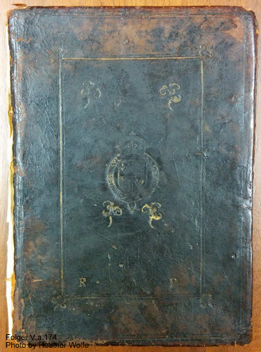 The binding for V.a.174. The binding has been removed from the textblock for conservation reasons, and is now stored with the manuscript in a phasebox.