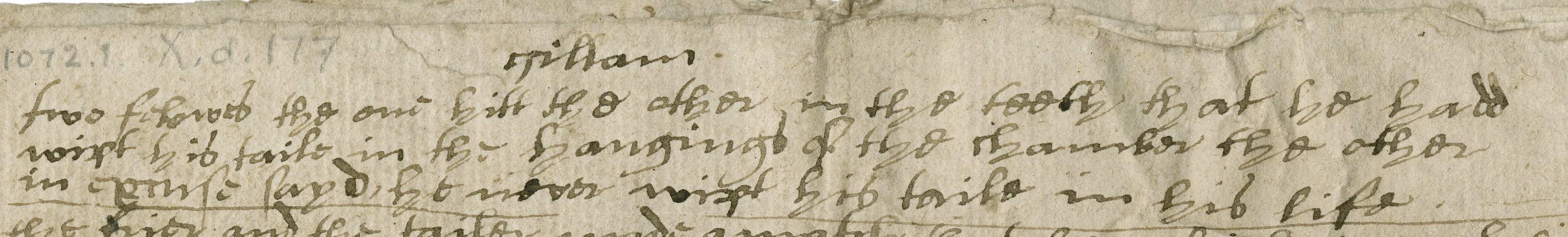Mystery heading at the top of a page of jests and poems. Folger MS X.d.177, fol. 1r.