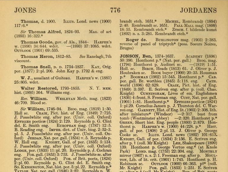 A.L.A. Portrait Index, page 776, top portion. Click image for link to full source (Source: Internet Archive)