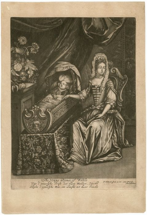Mezzotint of mother with baby