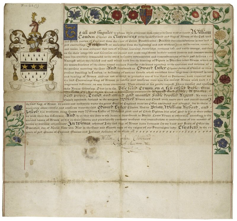 Grant of arms from Clarenceux King of Arms to Edward Lyster, Esq., doctor of physick of London, 1602 April 20. Folger MS Z.c.22 (1).